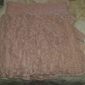 Blush pink ruffle skirt!